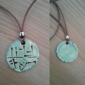 AM RIMU Necklace Cuneiform Sumerian Pendant Wild Bull Blue Bronze Ceramic Amulet