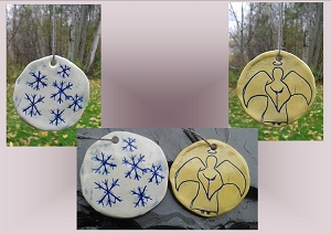 2 Snowflake Angel Ceramic Christmas Ornaments Yellow Blue Pottery Holiday Decorations
