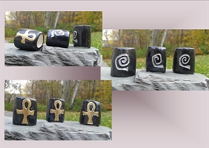 3 Ankh Dreadlock Beads Large Hole Gold Black Silver Ceramic Hair Accessories Macrame Supplies Pottery