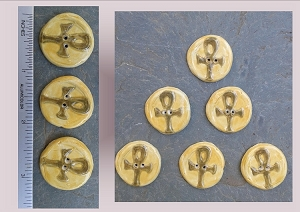 6 Ceramic Buttons, Ankh Pottery Buttons, gold Brown Buttons, Egptian Ceramic Stone Buttons, Handmade Clay Buttons