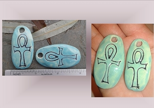 Set 2 Ankh Turquoise Ceramic Pendants Egyptian Beads Heiroglyph Jewelry Supplies Handmade