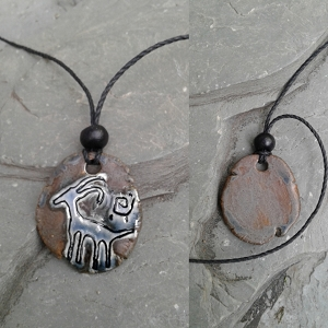 Antelope Petroglyph Necklace Ancient Symbol Pendant Blue Bronze Ceramic Deer Art