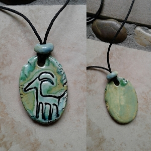 Antelope Petroglyph Necklace Ancient Symbol Pendant Ceramic Deer Art