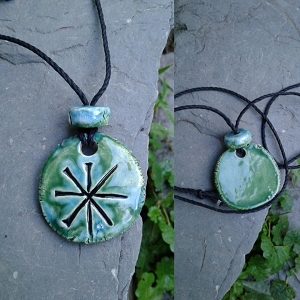 Anu Necklace Sumerian Pendant Turquoise Green Ceramic Petroglyph Amulet Sky Father King of the Gods (COPY)