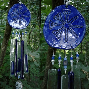 Anu Glass Wind Chime Blue Ceramic Pottery Chimes Sumerian Mobile Garden Gift Decor