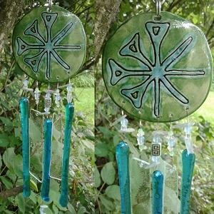 Anu Wind Chime Turquoise Green Ceramic & Glass Chimes Sumerian Mobile