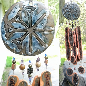 Anu Terra Cotta Wind Chime Pottery Chimes Sumerian Mobile Blue Bronze Garden Decor
