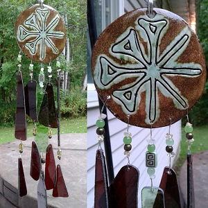 Anu Wind Chime Green Moss Ceramic & Glass Chimes Sumerian Mobile