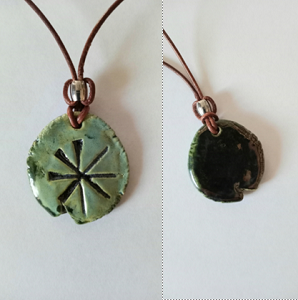 Anu Necklace Sumerian Pendant Sea Green Ceramic Petroglyph Amulet Sky Father King of the Gods