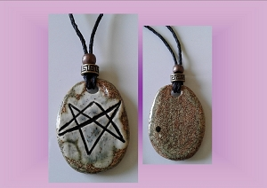 Aquarian Star Necklace Grey Brown Unicursal Hexagram Pendant Seal of Orichalcos Amulet