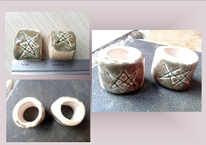 2 Aquarian Star Ceramic Macrame Beads Large Hole Dread Dreadlock Unicursal Hexagram Pottery