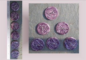 6 Ceramic Aquarian Star Pottery Buttons, Purple Hexagram, Ceramic Stone, Handmade Sewing Knitting Notions