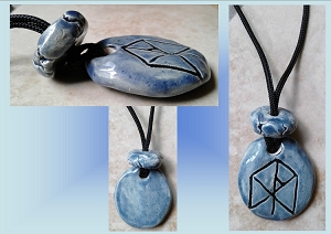 Men's Blue ASGARD Rune Necklace Norse Runestone Ceramic Viking Pendant