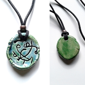 Atlantean Necklace Sigil Amulet Ceramic Pendant Turquoise Green Ancient Symbol