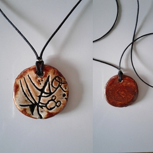 Atlantean Necklace Sigil Amulet Ceramic Pendant Copper Sand Ancient Symbol