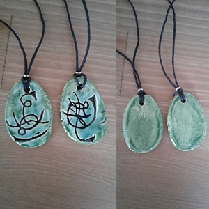 Set 2 Twin Flame Atlantean Necklaces Sigil Eternal Love Amulets Turquoise Green Ceramic Pendants Ancient Symbols