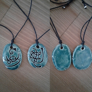 Set 2 Twin Flame Atlantean Necklaces Sigil Eternal Love Amulets Teal Ceramic Pendants Ancient Symbols