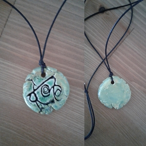 Atlantean Necklace Sigil Amulet Sea Green Ceramic Pendant Ancient Symbol