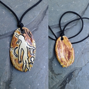 Australian Aboriginal Petroglyph Pendant Ceramic Cave Painting Amulet Native Necklace