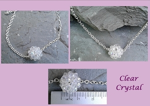 Mini Crystal Ball Necklace on Silver Plated Chain 10mm Crystal Beaded Various Colours