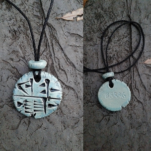 Cuneiform INNER SANCTUM Necklace Sumerian Pendant Sea Green Ceramic  BARAG  Amulet