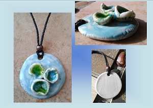 Porcelain Seaglass Necklace Barnacle sea Pool Turquoise Green Pendant Ceramic Beach Surfer Amulet Boho