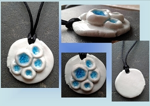 Porcelain Seaglass Necklace Barnacle sea Pool Turquoise Pendant Ceramic Beach Surfer Amulet Boho .2