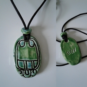 Mayan BEN Necklace Mesoamerican Tzolk'in Day Sign REED Glyph Ceramic Amulet Turquoise Green