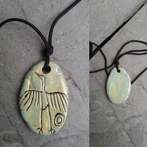 Big Crane Necklace Anasazi Pendant Green Ceramic Petroglyph Hopi Native American Cave Art