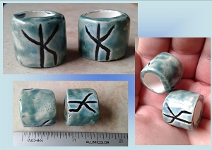 Set 2 Rune Macrame Beads Large Hole Turquoise Teal Ceramic Bind Runes Norse Viking Beads Dreads