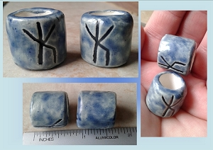 Set 2 Rune Macrame Beads Large Hole Blue Ceramic Bind Runes Norse Viking Beads Dreads