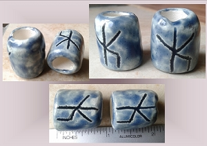 Set 2 Blue Bind Rune Ceramic Macrame Beads Large Hole Norse Viking Beads Dreads Dreadlocks Fibre Projects Pottery Beads