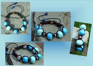 Blue Turquoise Bracelet, Blues Ceramic Beads, Pottery Jewelry, Antique Cut Czech Glass, Tibetan Bali Shamballa Bracelet