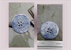 1 Large Blue Ceramic Button Pottery Silver Stone Sewing Accessories