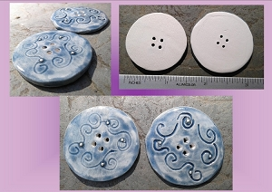 1 Large Blue Ceramic Button with Fine Silver Clay Pottery 1-1/2 '' Buttons Notion Sewing Accessories Knitting