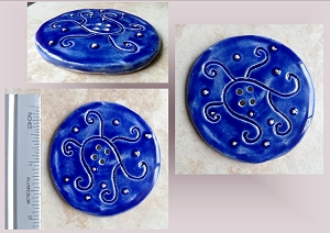 1 Large Blue Ceramic Button with Silver Cobalt Pottery Handmade Clay 2
