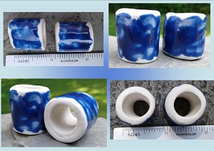 Set 2 Cobalt Blue Porcelain Macrame Beads Rustic Large Hole Dread Dreadlock Clay Pottery Beads
