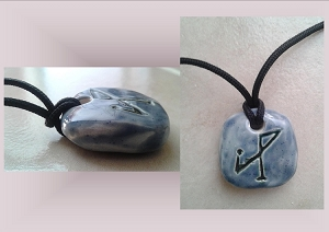 Blue Archangel Michael Necklace Angel Sigil Ceramic Pendant Clay Pottery Amulet Sacred Protection Jewelry