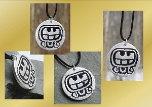 Mayan Metal Necklace, Caban Pendant, Aluminium Jewelry, Sacred Earth Symbol, Transition Movement Sacred Amulet