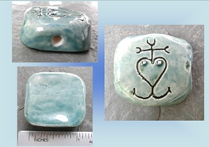 Men's Camargue Cross Ceramic Pendant Teal Clay Focal Bead French Symbol Coat of Arms Jewelry Making Supplies
