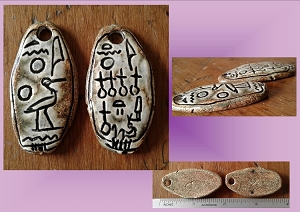 Set 2 Egyptian Cartouche Pendants Akhenaten and Nefertiti Hieroglyph Beads Pharoah Stone