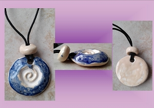 Celtic Spiral Clay Aromatherapy Necklace Ceramic Cobalt Blue Cream Essential Oil Diffuser Disc Pendant