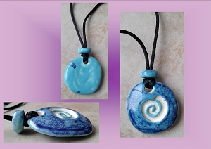 Celtic Spiral Clay Aromatherapy Necklace Ceramic Turquoise Cobalt Blue Essential Oil Diffuser Disc Pendant