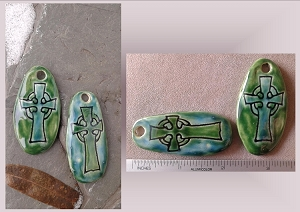 Set 2 Celtic Cross Pendants Green Turquoise Ceramic Beads Pottery Jewelry Supplies