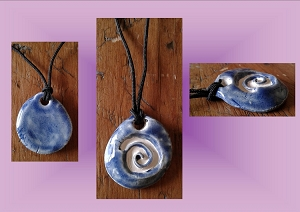 Sacred Spiral Ceramic Aromatherapy Necklace Blue Essential Oil Diffuser Pendant Clay