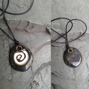 Spiral Aromatherapy Necklace Antiqued Pewter Ceramic Essential Oil Diffuser Pendant