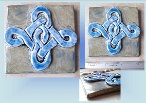 Celtic Knot Porcelain Decorative Tile Blue Ceramic Wall Decor Irish Mosaic Art Fine Porcelain