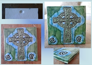 Celtic Cross Tile Turquoise Green Ceramic Decorative Irish Tile Celtic Wall Decor Mosaic Religious Christian Symbol
