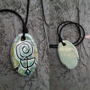 Chaco Fajada Butte Petroglyph Pendant Ceramic Sea Green Native American Rock Drawing Amulet