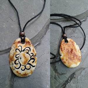 Chaco Canyon Solar Eclipse Petroglyph Pendant Ceramic Native American Rock Carving